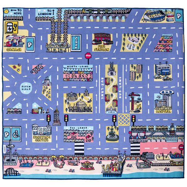 Brighton Car Play Mat Blue Embroidered Edge | Best Kids Toys 2020, Toys for Toddlers, Educational Toys