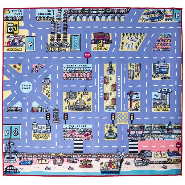 Brighton Car Play Mat Red Embroidered Edge | Best Kids Toys 2020, Toys for Toddlers, Educational Toys